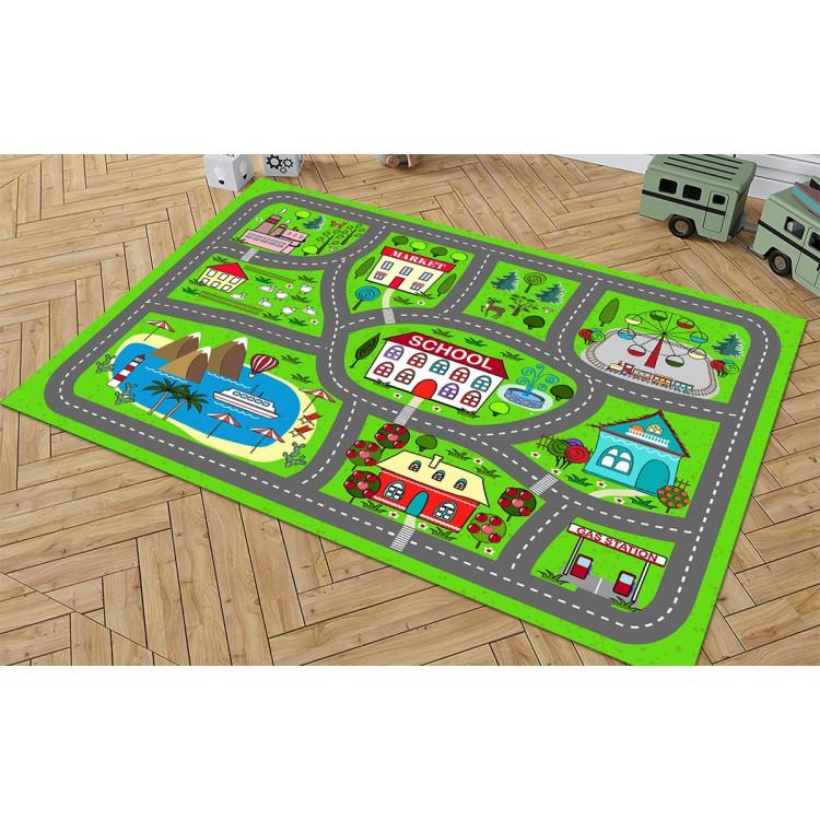 Araba Yollu Yeşil Kaymaz Taban Çocuk Odası Halısı