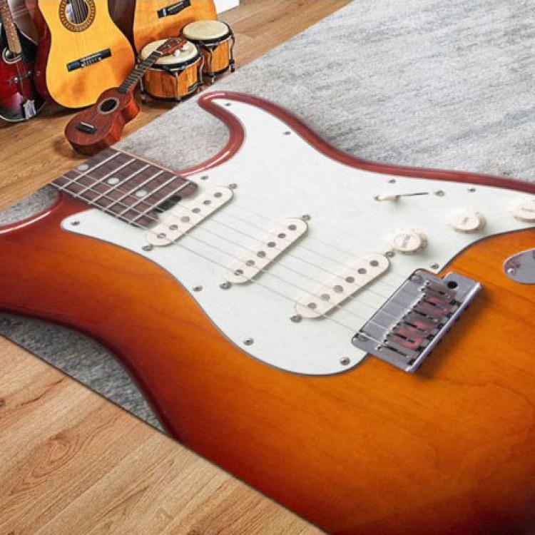 Stratocaster Gitar Desenli Kaymaz Taban Halı