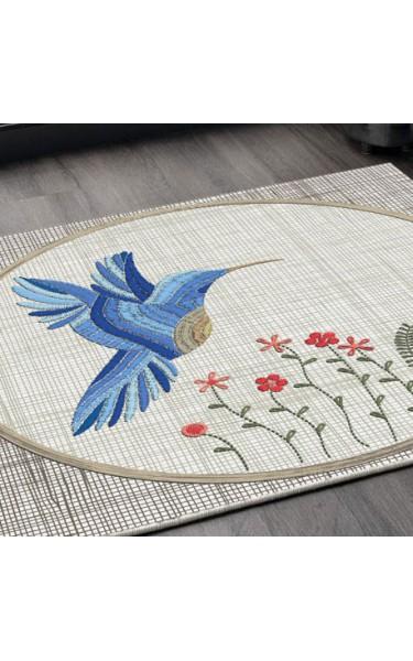 Mavi Kuşlu Çiçekli Kare Kaymaz Taban Halı