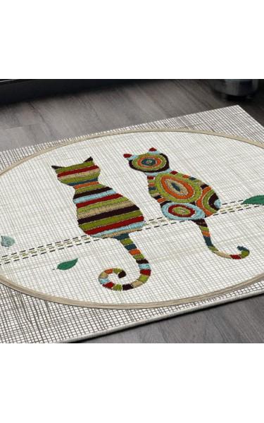 Aşık Kediler Kare Kaymaz Taban Halı