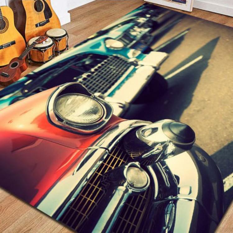 Klasik Araba Desenli Kaymaz Taban Halı