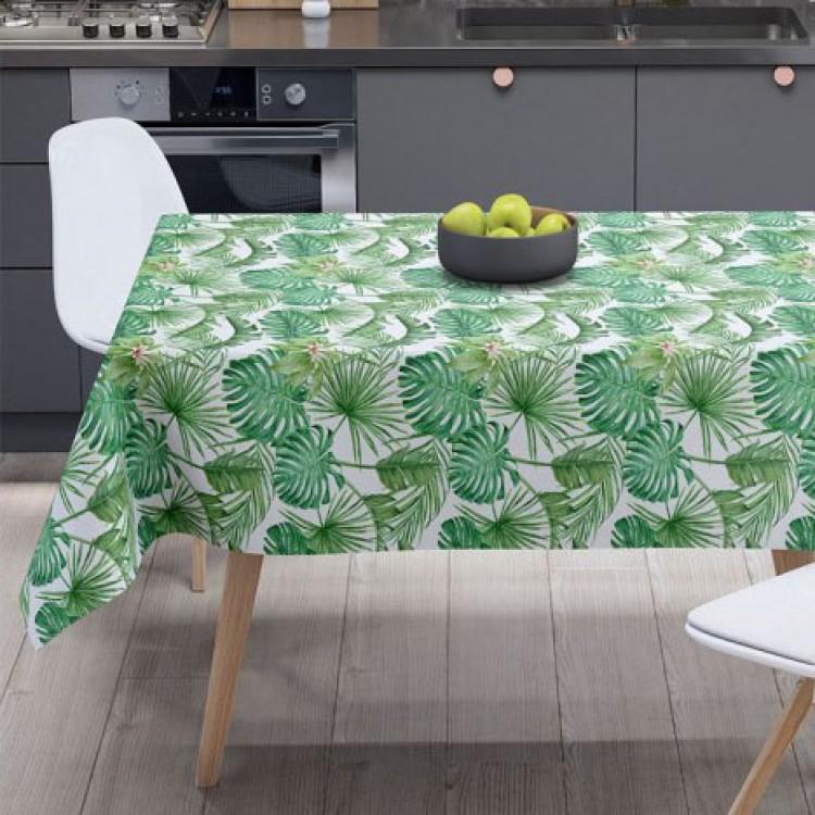 Büyük Yeşil Devetabanı Desenli Masa Örtüsü