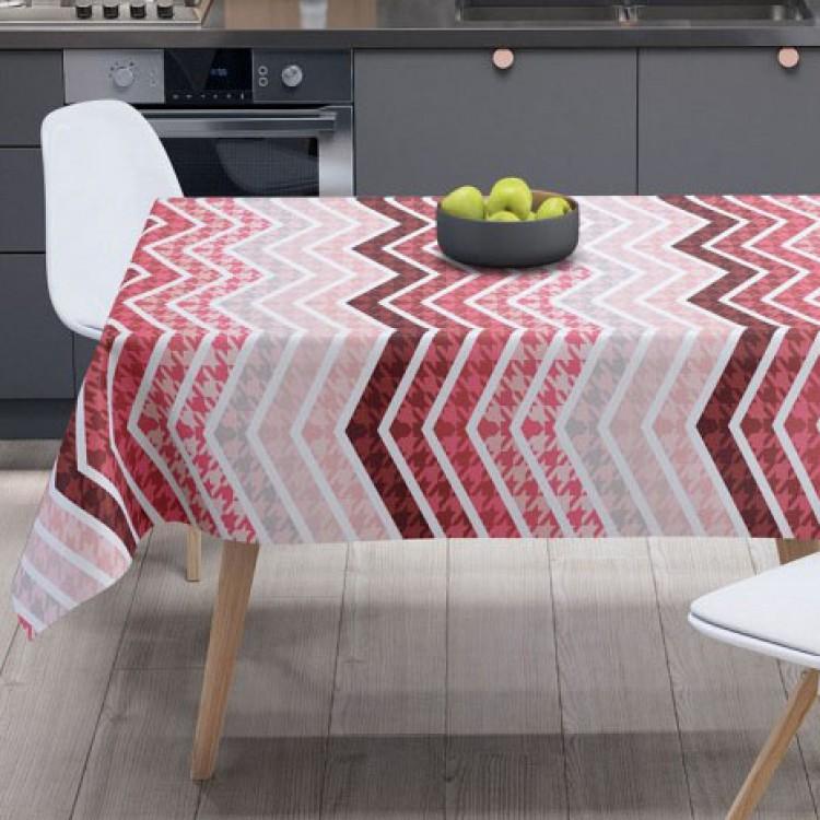 Kırmızı Zigzag Desen Masa Örtüsü