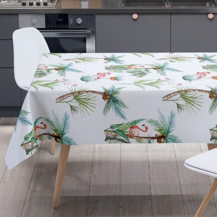 Palmiye Ve Flamingo Desen Masa Örtüsü